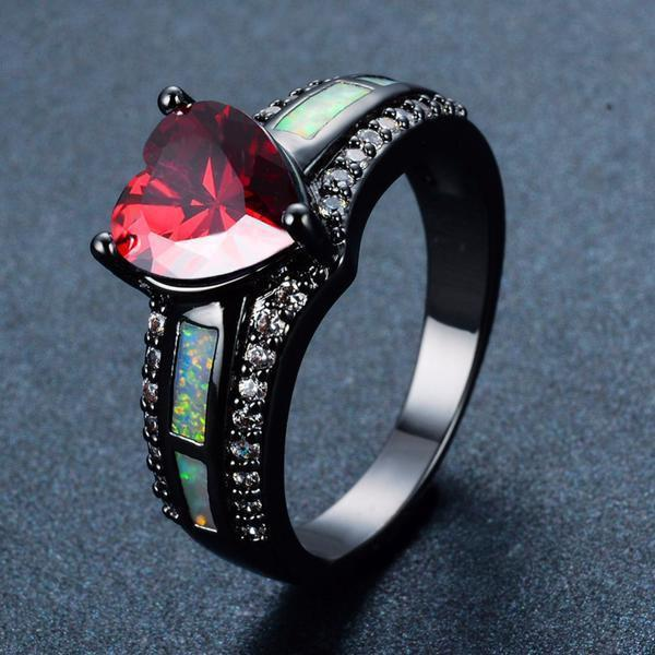 Ruby Heart Fire Opal Rings - atperry's healing crystals