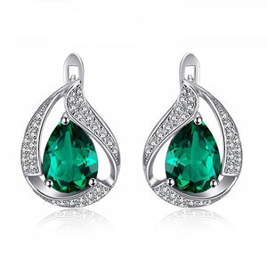 Solid Emerald Stud Earrings- 925 Sterling Silver - atperry's healing crystals
