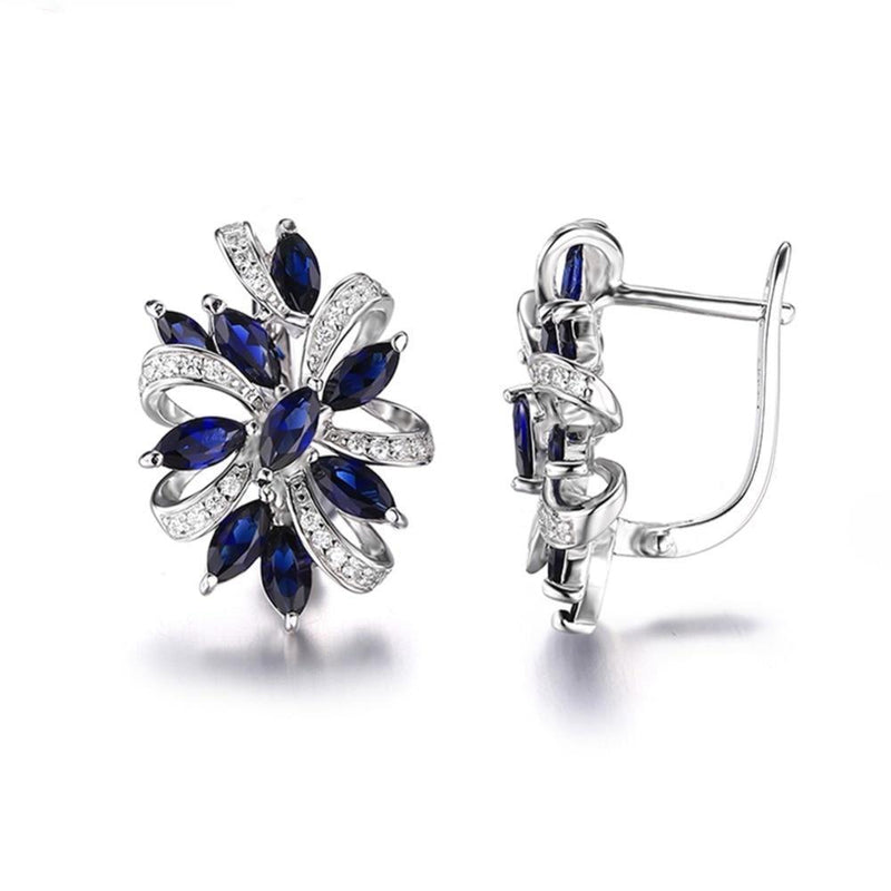 Stylish Authentic Sapphire Earrings- 925 Sterling Silver - atperry's healing crystals