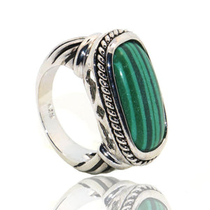 Vintage Malachite Ring - 925 Sterling Silver - atperry's healing crystals