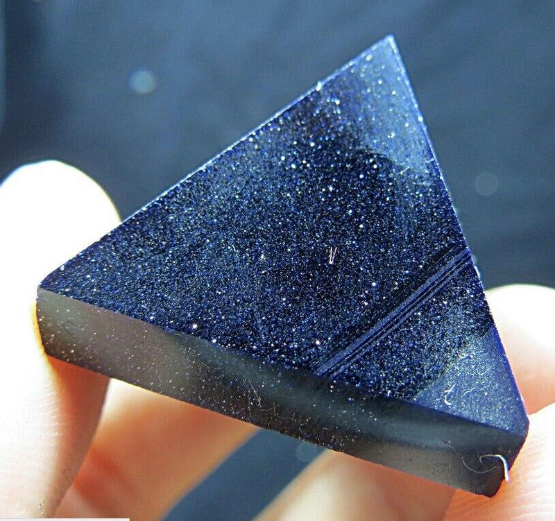 Blue Beam Goldstone Crystal Pyramid Stone - atperry's healing crystals