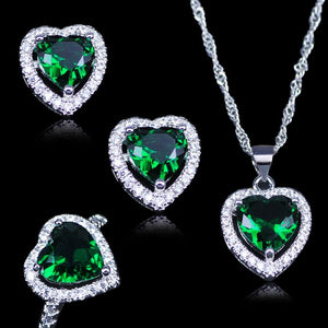 Emerald Jewelry Set in 925 Solid Sterling Silver - atperry's healing crystals