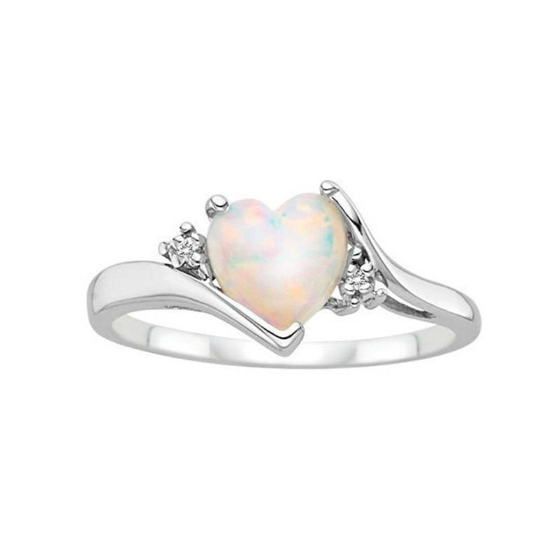 Lovely Heart Shaped Fire Opal 925 Sterling Silver Ring