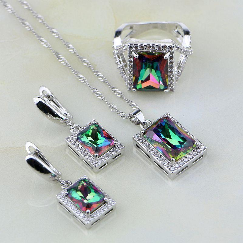 Natural Square Mystic Rainbow Topaz Set - 925 Silver