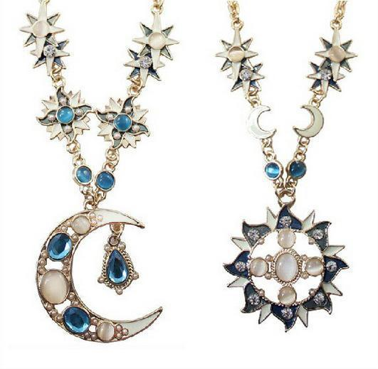 Opal Sun & Moon Stars Necklaces - atperry's healing crystals