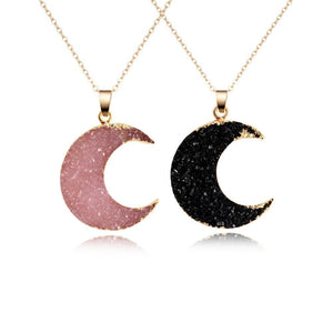 Pink & Black Crystal Moon Necklace