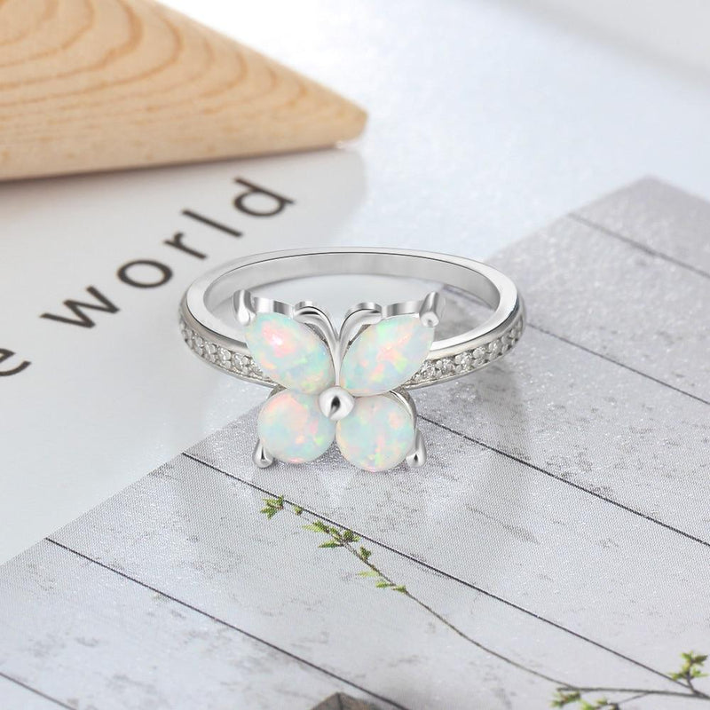 925 Sterling Silver Butterfly Opal Ring