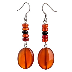 Carnelian Black Onyx Earrings - 925 Sterling Silver - atperry's healing crystals