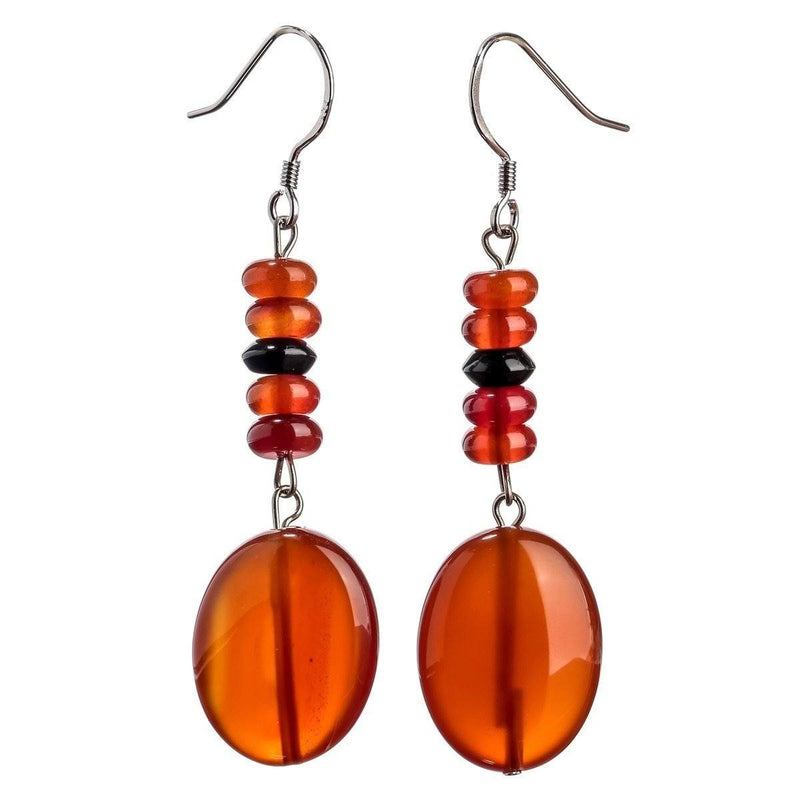 Carnelian Black Onyx Earrings - 925 Sterling Silver