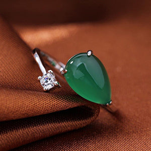 Classic Diamond Jade Ring - 925 Sterling Silver - atperry's healing crystals