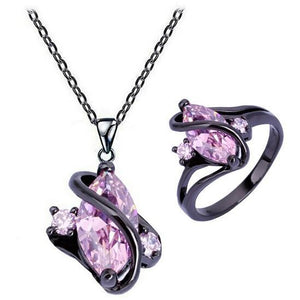Pink Sapphire Black Gold Necklace & Ring - atperry's healing crystals