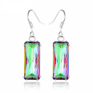 Rainbow Mystic Topaz Crystal Earrings - atperry's healing crystals