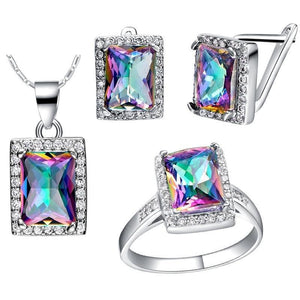 Square Shape 925 Sterling Rainbow Mystic Topaz NecklaceNecklace
