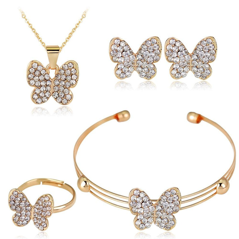 Butterfly Crystal Rhinestones Jewelry Set - For KidsJewelry Set