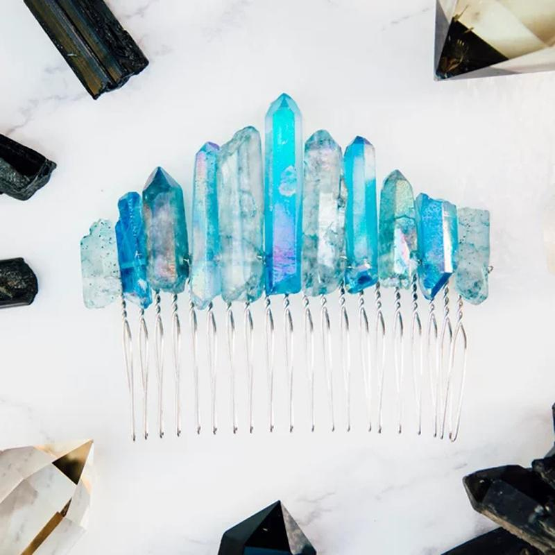 Crystal Crown Quartz Hair Clip - atperry's healing crystals