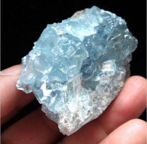 Natural Blue Celestite Crystal Cluster from Madagascar - atperry's healing crystals