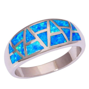 Blue Fire Opal Ring for Women Jewelry Size 9, 10 and 11Ring