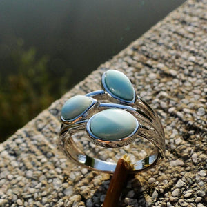 Vintage Natural Larimar Ring - 925 Sterling Silver - atperry's healing crystals