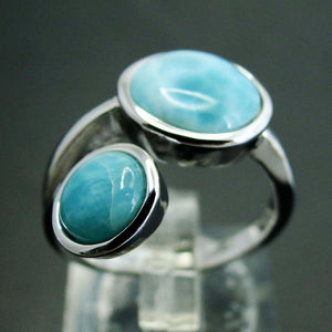 Round Natural Larimar Ring - 925 Sterling Silver - atperry's healing crystals