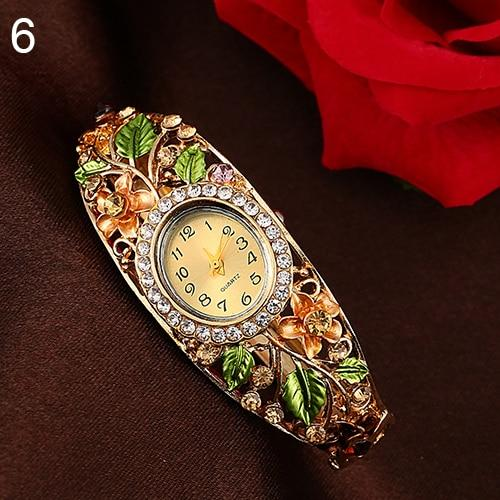 Gold Floral Bangle Watch - atperry's healing crystals