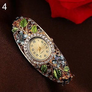 Gold Floral Bangle WatchWatchGrey