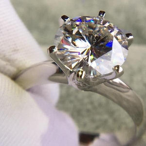 14K White Moissanite Solitaire Gold Plated Silver Ring - atperry's healing crystals