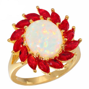 White Fire Opal and Garnet RingRings10