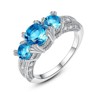 Ocean Aquamarine Silver Plated Ring