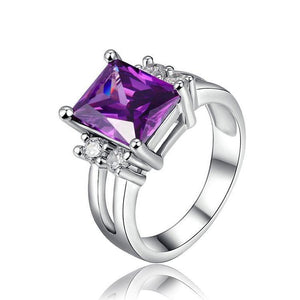 Elegant Amethyst Silver Plated Ring - atperry's healing crystals
