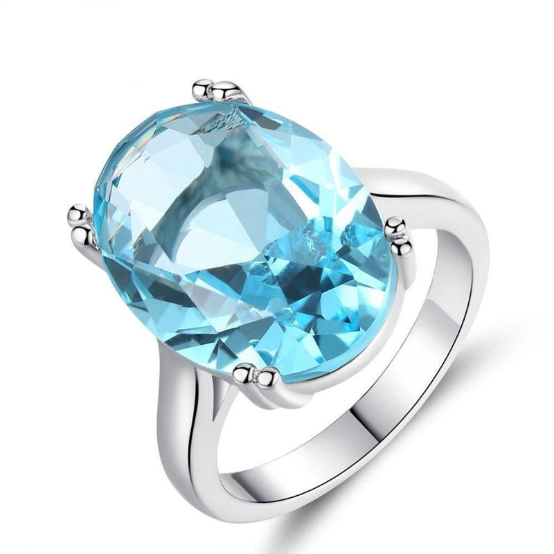 Gorgeous Aquamarine Silver Plated Ring - atperry's healing crystals