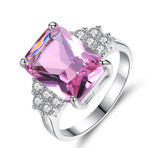 Bright Pink Tourmaline Silver Plated Ring