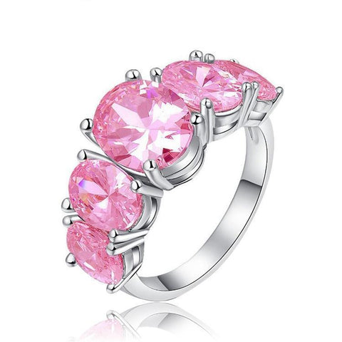 Multiple Lavender Spinel Stones Silver Plated Ring