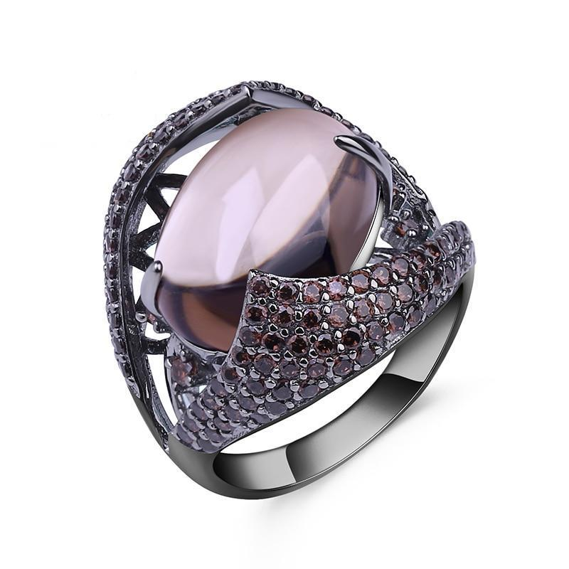 Natural Smoky Quartz Gemstone Ring - 925 Sterling Silver