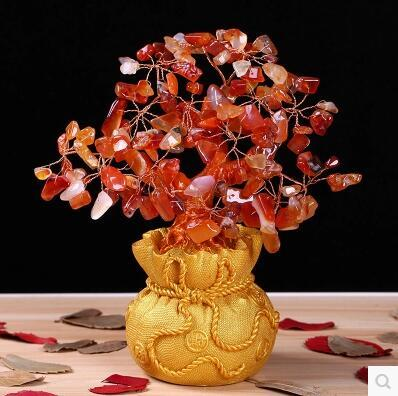 Natural Red Agate Money Tree