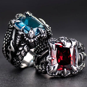 Ruby & Sapphire Dragon Men Ring - atperry's healing crystals