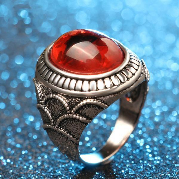 Vintage Ruby MEN Ring - AtPerrys Healing Crystals - 1