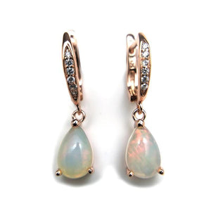 Elegant Rainbow Ethiopian Opal Dangle EarringsEarrings
