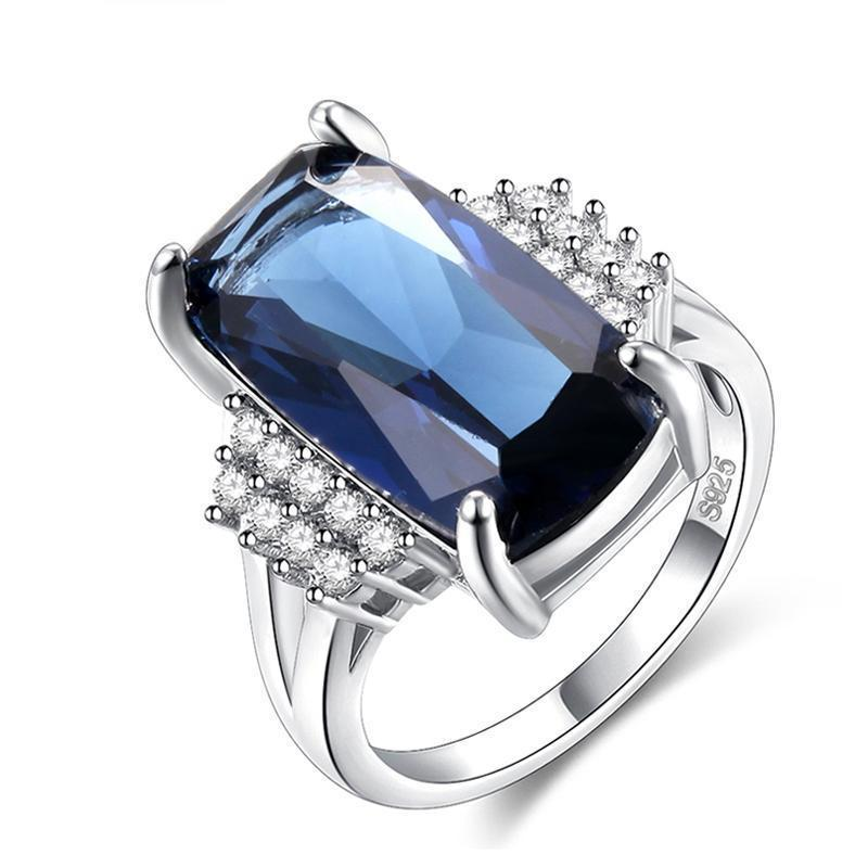 Gorgeous Silver Plated Sapphire Ring (November Birthstone) - atperry's healing crystals