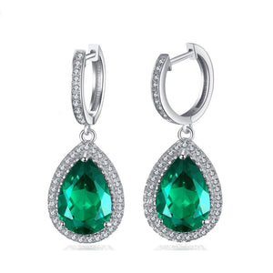 Authentic Green Emerald Earrings- 925 Sterling Silver - atperry's healing crystals