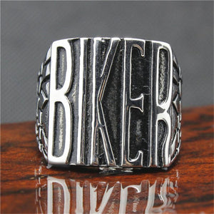 Stainless Steel Silver Biker Ring - atperry's healing crystals