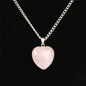 Rose Quartz Point Heart Crystal Stone Power Healing Chakra Reiki NecklaceNecklace