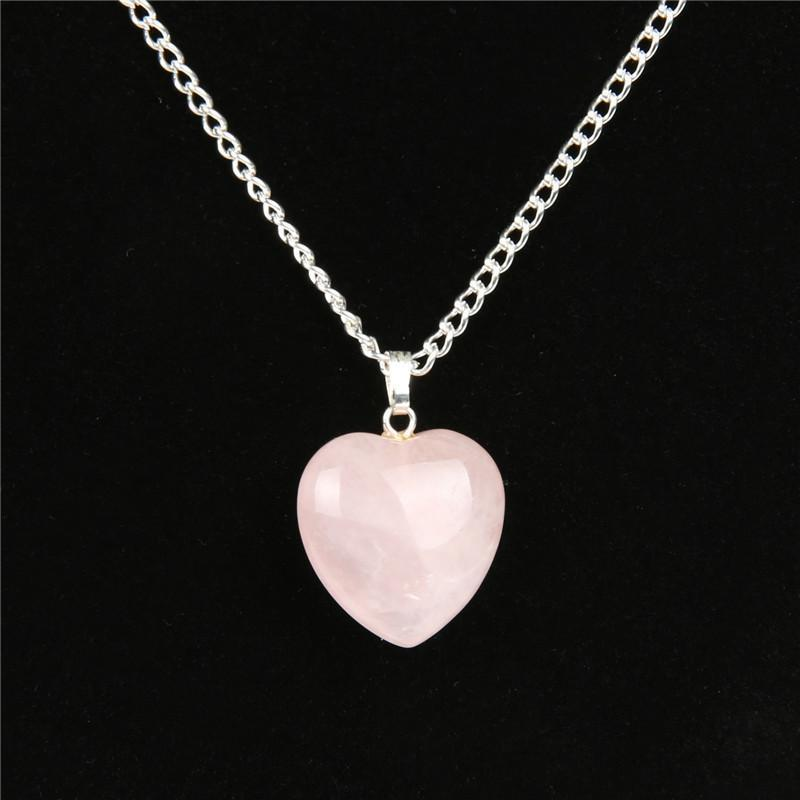 Rose Quartz Point Heart Crystal Stone Power Healing Chakra Reiki Necklace - atperry's healing crystals