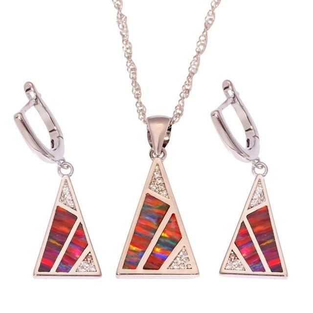 Orange Fire Opal Triangular Earring and Necklace SetJewelry Set