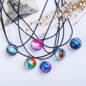 Planet Crystal Star Ball Glass Galaxy Pattern Leather Chain Pendant Maxi Necklace - atperry's healing crystals