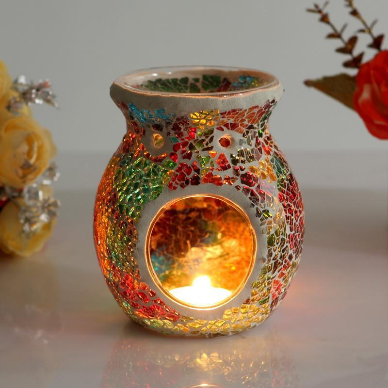Mosaic Glass Candle Holder - AtPerry's Healing Crystals™