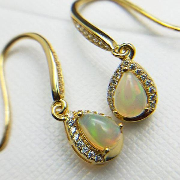 Stylish Natural Ethiopian Opal Earrings - 925 Sterling Silver - atperry's healing crystals