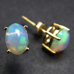 Natural Ethiopian Opal Classic Earrings - 925 Sterling Silver - atperry's healing crystals
