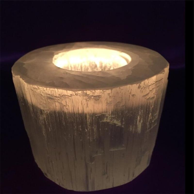 Selenite Crystal Candle Holder - atperry's healing crystals