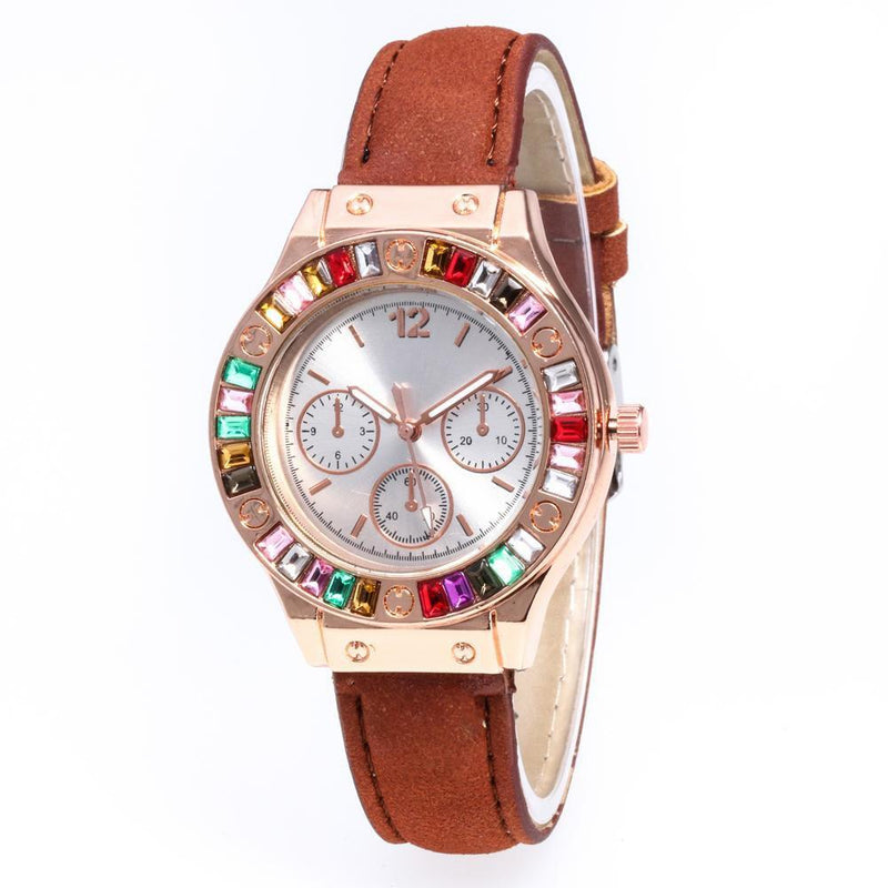 Colored Diamond Quartz Watch