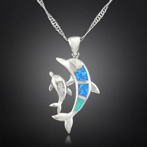 Blue Fire Opal Dolphin - 925 Silver Plated - atperry's healing crystals
